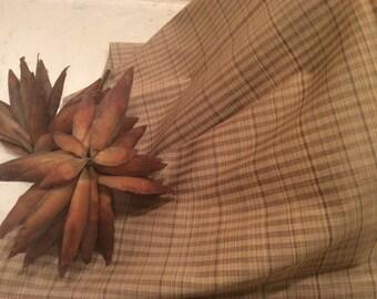 Vintage Tan Plaid Men's Shirt Fabric Cotton Fabric, Vintage Textiles, Plaid Fabric, Sewing Supplies, Craft Supplies