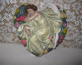 Concrete Angel Heart and Flowers Garden Art Tile