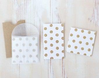 Gold Glitter Polka Dot White Mini Folded Note Cards - 10 pc