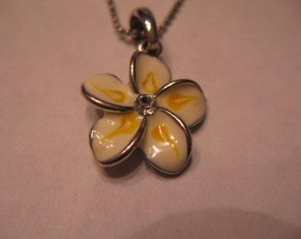 Vintage rhinestone, enamel flower necklace, free US shipping