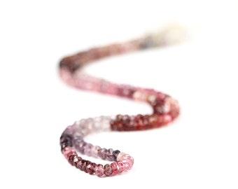 Spinel Micro Faceted Rondelles 15 Multi Color Purple Red Pink Salmon Blue Semi Precious Gemstones