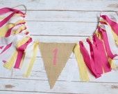 Gingham Birthday Banner - You are my sunshine birthday banner - girl high chair banner - 1st birthday prop - girl birthday banner - 1st girl