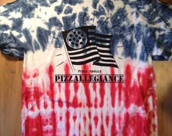PIZZALLEGIANCE American flag tie dye pizza trollz gildan heavy cotton