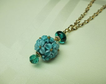 Lampwork Bead Necklace in Teal