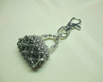 Purse Charm or Zipper Pull in Silver and Grey
