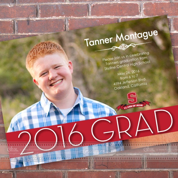 graduation invitations, high school graduation invitations, graduation announcements, class of 2016, graduation party invitations, IN452v2