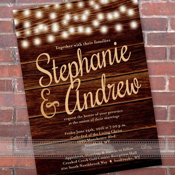 wedding invitations, western wedding invitations, barnwood wedding invitations, outdoor wedding, wedding invitation with string lights IN460