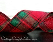 "Christmas Wired Ribbon, 2 1/2"" wide, Red and Green Tartan Plaid - THREE YARDS -  ""Lodge"" Xmas Holiday Craft Wire Edged Ribbon"