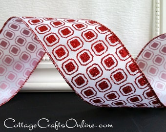 "Christmas Wired Ribbon, 2 1/2"" Red Glitter Octagons on White  - THREE YARDS - Offray ""Christmas Rubies"" Holiday Wire Edged Ribbon"