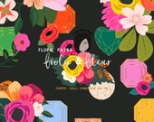 Spring Summer Bright Colorful  Floral Bouquet and Gems Clipart Small Printed CU OK  Stationary and Planner Stickers Agenda