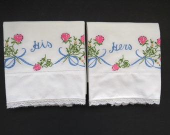 Vintage His and Hers Pillowcases - Set of 2 - Hand Embroidered Drawn Work Pillow Cases - Three Leaf Clovers - Vintage Bedding Sheets Linens