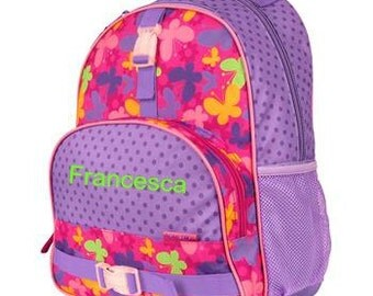 Personalized Girls Backpack Stephen Joseph ALL OVER Elementary style Butterfly