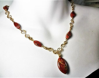 Necklace - Pietersite Stones - Gold Filled Wire - Hand Crafted by ChicArtistique