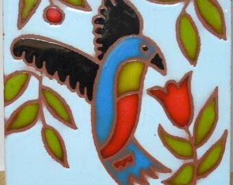 American Olean Quarry Tile, USA, Glazed Parrot Tile, Bold Rich Colored Tile, Tile Decor, Parrot Motif, Turquoise, Green, Red, Black Tile
