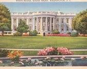 White House, Washington D.C., South Front - Linen Postcard - Unused (D)