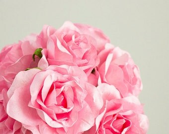 12 Paper Flowers / One Dozen PINK Roses With Wire Stems / Bridal / Wedding Party / Bouquet / Decorations