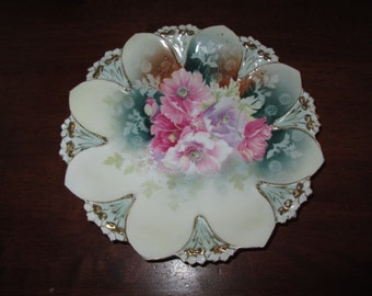 RS Prussia poppies plate antique china plate home decor plate teal pink lilac gold shabby wall plate German porcelain plate