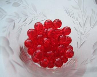 Czech Preciosa Smooth Round 10mm Ruby Beads 30Pcs.