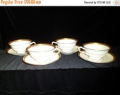 Valentine SALE Art Deco Mintons China of England H3618 Four Footed Cups and Saucers T. Goode and Co. London