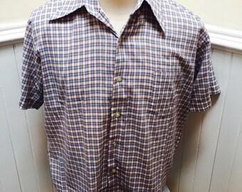 Vintage 1980s Blue & White Plaid Men's Button Down Shirt- L