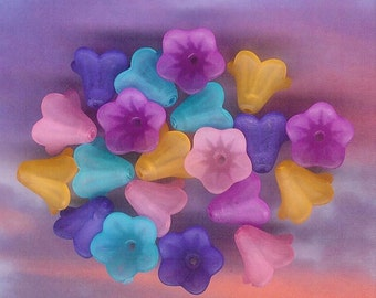 14mm Lucite Flower, Summer Flowers, Assorted Pack, 20 Pack, 14mm Pink Lily, 14mm Violet, 14mm Purple, 14mm Turquoise, 14mm Orange, 14mm Lily