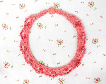Pink red lace choker necklace Beaded crochet collar Boho chic Gift for her Summer fashion Crochet jewelry