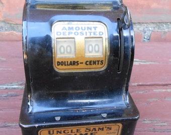 Vintage Uncle Sam's Dime Register Coin Bank