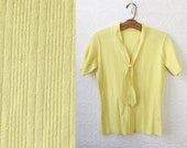 Yellow Secretary Sweater, V-Neck with Tie, Short-sleeves, Hip Length, Ribbed, Stretchy Curve Hugging, size Medium or Large, Vintage 1970's