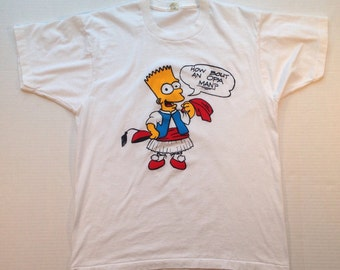 Late 80's, early 90's Bootleg Greek Bart Simpson t-shirt, large