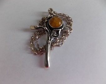 Vintage Amber Silver Cross Chain - LOVELY