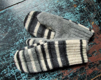 Wool Mittens upcycled repurposed altered clothing boho artsy mori girl multicolor striped natural oatmeal grey tan black women medium large