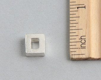 Square Pendant, Sterling Silver Square Charm, Outline Square Charm, Silver Square Charm, Geometric Charm, Square Pendant, 9mm (1 piece)