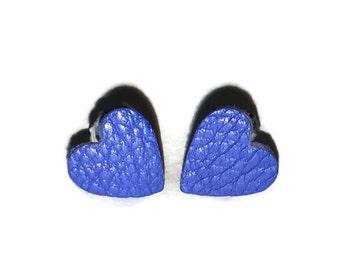 Blue leather hearts earrings, heart stud earrings, heart earrings, handmade earrings, leather earrings