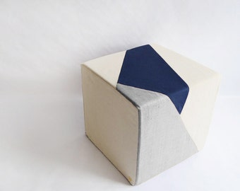 Cube/Pouf Ottoman/Floor Pouf/Ottoman/Geometric Pouf/Grey/Navy Blue/Urban/Prism/Modern/Floor Pouf/Unique/Nursery Pouf/ Zigzag Studio Design