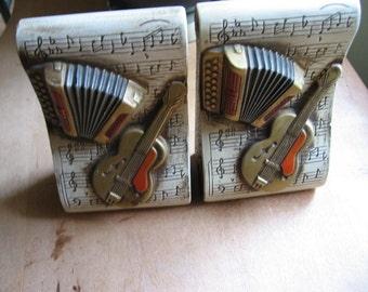 Ceramic Bookends Music Guitar Accordion Motif