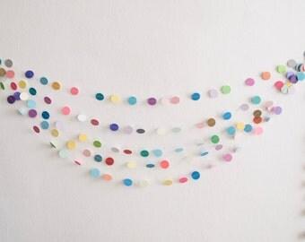 Mini Multicolor Circle Garland - Mini Garland - Mini Bunting - Confetti Garland- Tiny Confetti Garland