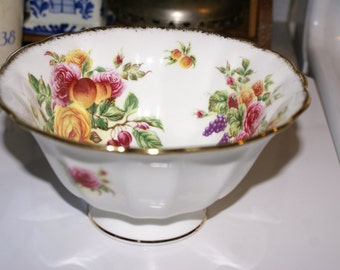 ROYAL ALBERT HARVEST Rose Bowl, English Rose Pattern Serving Bowl