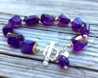 Amethyst Bracelet - Sterling Silver Jewelry - Purple Gemstone Jewellery - Beaded - Fashion - Chunky