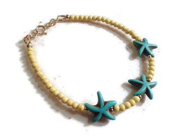 Turquoise Bracelet - Gold Jewelry - Turquoise Yellow Gemstone Jewellery - Starfish - Beaded - Fashion