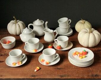 Antique toy tea set, child's tea set, teatime play tea set