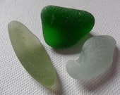 Green, olive & seafoam sea glass - 3 English beach find pieces
