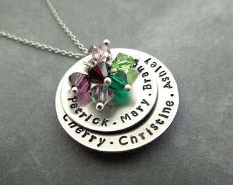 name necklace, mothers necklace, 6-7 names, birthstone necklace, grandma gift,
