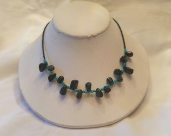 Necklace, Turquoise and Black Stone, Black Stone Jewelry, Turquoise Jewelry, Southwest Jewelry, Black Choker, Country Necklace by Cindydidit