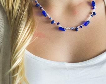 Blue Cobalt Blue and White Crochet Beaded Necklace -Blue Beach Necklace Set-Boho Blue Necklace