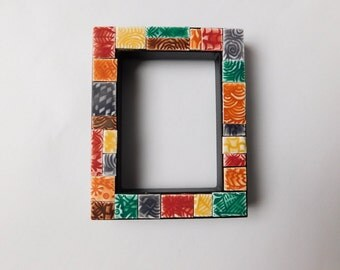 "Polymer Clay Tiled Mosaic Picture Frame, 2-1/4"" x 3-1/8"" small photo frame"