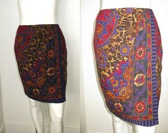 Vintage 1980s Emanuel Ungaro Wool Print Faux Wrap Skirt