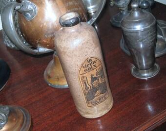 SALE Antique French Stoneware Liquor Bottle La Vieille Noix SALE