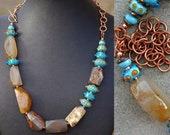 Agate and blue lampwork beads | chunky statement necklace | OOAK | stone necklace |  copper | natural agate | polka dot