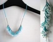 Powder blue fringe necklace | necklace and earrings set