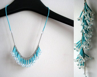 Powder blue fringe necklace | necklace and earrings set